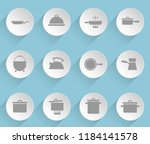 dishes web icons on light paper ... | Shutterstock .eps vector #1184141578
