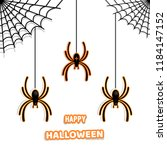 set of stylish paper spiders... | Shutterstock .eps vector #1184147152