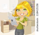 pretty business woman in office ... | Shutterstock .eps vector #118415158
