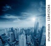 skyline at sunset at shanghai | Shutterstock . vector #118415266