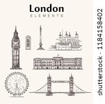 set of hand drawn london... | Shutterstock .eps vector #1184158402