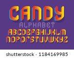 candy alphabet. yellow red... | Shutterstock .eps vector #1184169985
