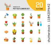 potted flowers icon set. money... | Shutterstock .eps vector #1184209642