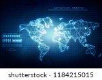 2d illustration world map... | Shutterstock . vector #1184215015