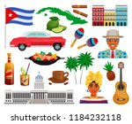cuba travel set with sights and ... | Shutterstock .eps vector #1184232118