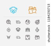 cargo icons set. logistics and...