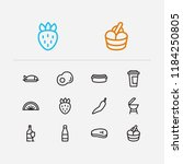 meal icons set. berry and meal... | Shutterstock .eps vector #1184250805
