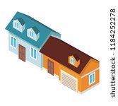 houses real estate isometric | Shutterstock .eps vector #1184252278