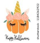 cute kawaii little pumpkin head ... | Shutterstock .eps vector #1184262922