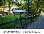 bench in the summer public city ... | Shutterstock . vector #1184263672