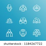 hr icon set and team members... | Shutterstock . vector #1184267722