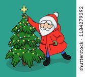 santa claus decorating a... | Shutterstock .eps vector #1184279392