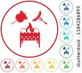 brazier  chicken and sausage...   Shutterstock .eps vector #1184286895