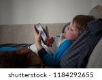 ailing sad little boy with... | Shutterstock . vector #1184292655