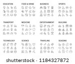 big collection of linear icons. ... | Shutterstock . vector #1184327872