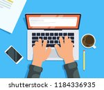 hands on laptop keyboard man... | Shutterstock .eps vector #1184336935