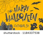 halloween poster with lettering ... | Shutterstock .eps vector #1184337538