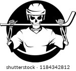 a skeleton in a hockey uniform... | Shutterstock .eps vector #1184342812