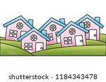 set of residence houses... | Shutterstock .eps vector #1184343478