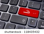 a smoking sign on keyboard for smoking zone or lounge concepts. - stock photo