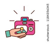 hand with photographic camera... | Shutterstock .eps vector #1184356345