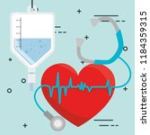 heart cardio with medical... | Shutterstock .eps vector #1184359315