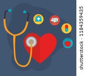 heart cardio with medical... | Shutterstock .eps vector #1184359435