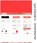 light red vector ui ux kit in...