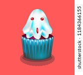 muffin in the form of ghost... | Shutterstock .eps vector #1184366155