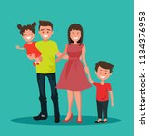 happy family. father  mother ... | Shutterstock .eps vector #1184376958