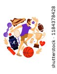 fitness concept with running... | Shutterstock .eps vector #1184378428
