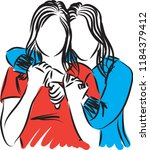 two women friends hugging... | Shutterstock .eps vector #1184379412