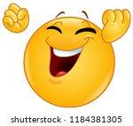 excited happy emoticon raising...   Shutterstock .eps vector #1184381305