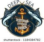 fishing big marlin. deep sea  | Shutterstock .eps vector #1184384782