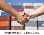 two business man handshaking... | Shutterstock . vector #118438642