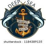 fishing big marlin. deep sea    Shutterstock . vector #1184389135