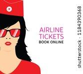 stewardess black in red... | Shutterstock .eps vector #1184390368