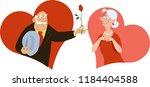 a senior man presenting a rose... | Shutterstock .eps vector #1184404588