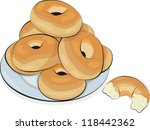 plate of hand drawn bagels... | Shutterstock .eps vector #118442362