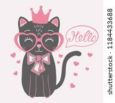 cute black cat princess with... | Shutterstock .eps vector #1184433688