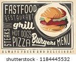 fast food restaurant artistic... | Shutterstock .eps vector #1184445532