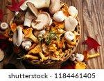 Variety Of Raw Mushrooms On...