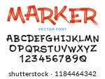 vector stylized artistic font... | Shutterstock .eps vector #1184464342