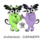 vector cool monsters with... | Shutterstock .eps vector #1184468395