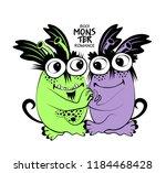 vector cool monsters. hand... | Shutterstock .eps vector #1184468428