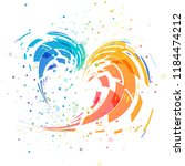 abstract splash colorful heart... | Shutterstock .eps vector #1184474212