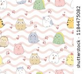 seamless pattern cute animal... | Shutterstock .eps vector #1184475082