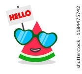 funny watermelon cartoon face... | Shutterstock .eps vector #1184475742