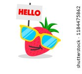 strawberry face cartoon with... | Shutterstock .eps vector #1184475862