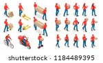 isometric big set of delivery... | Shutterstock .eps vector #1184489395